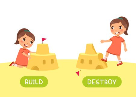 English language educational flash card vector template. Word card with opposites. Antonyms concept, build and destroy. Little girl constructing and ruining sand castle flat illustration with typography
