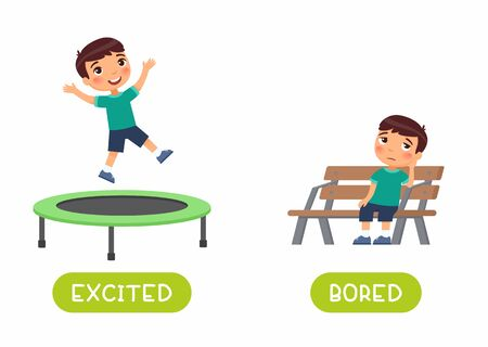 Excited and bored antonyms word card vector template. Flashcard for english language learning with flat character. Opposites concept. Boy jumping and sitting on bench illustration with typography Stock Photo