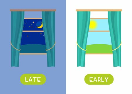 Windows with curtains, with Night and morning nature landscape cartoon illustration with typography. Late and early antonyms word card flat vector template. Flashcard for english language learning.