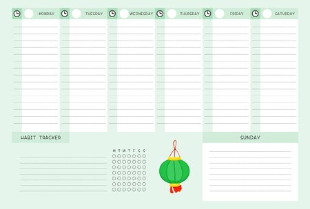 Week timetable and habit tracker with chinese lantern flat vector template. Calendar design. Personal tasks organizer blank page for planner