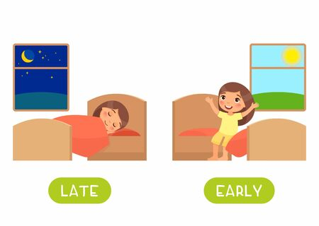 Late and early antonyms flashcard flat vector template. Word card for english language learning with cartoon character. Opposites concept. Girl waking up and sleeping illustration with typography