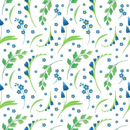 Blue flowers blossoms flat vector retro seamless pattern.  Floral backdrop. Daisy and cornflower decorative background. Blooming meadow wildflowers. Vintage textile, fabric, wallpaper design Ilustrace