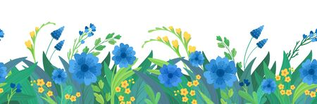 Floral flat vector template horizontal background. Blue and yellow wildflowers blank border design. Cornflowers and daisy blossoms cartoon decor element