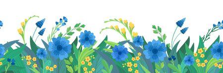 Horizontaler Hintergrund der flachen Vektorschablone mit Blumen. Leeres Grenzdesign der blauen und gelben Wildblumen. Kornblumen und Gänseblümchenblüten-Cartoon-Dekorelement