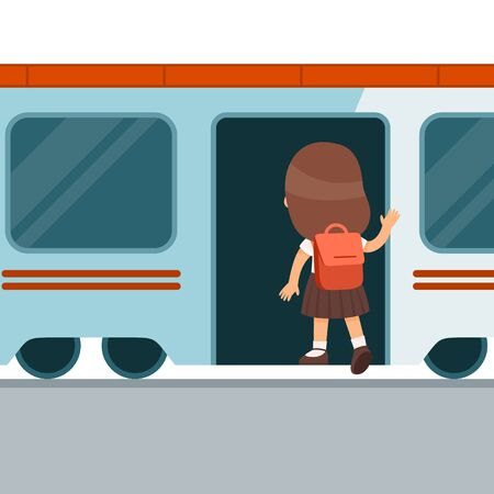 Girl with backpack entering train flat vector illustration. Little passenger getting into wagon. Child back view standing in railway transport, subway station. Train departure. Cartoon character