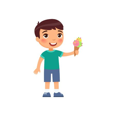 Cute boy with ice cream flat vector illustration. Happy child with sweet summer dessert cartoon character. Little kid holding refreshing gelato in waffle cone isolated on white background Ilustração Vetorial