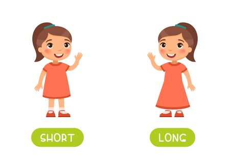 Girl in short and long dresses illustration with typography. Flashcard vector template. Word card for english language learning with flat characters. Opposites concept.