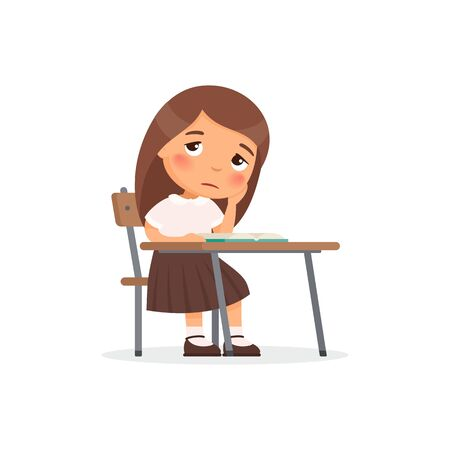 Sad elementary school student flat color vector illustration. Unhappy schoolgirl sitting at table and reading book. Girl in school uniform doing homework isolated cartoon character on white background Illustration