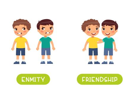 Two little boys quarrel and friends illustration with typography. Friendship and enmity antonyms flashcard vector template. Word card for english language learning with flat characters. Opposites concept.