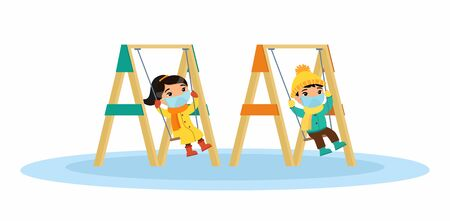 Children with medical masks on their faces swing on a swing. Virus protection. Flat characters. Vector illustration on a white background.
