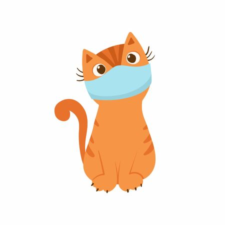 Cute kitten with a medical mask on his face. The concept of protection against respiratory diseases, allergies. Vector illustration on a white background.