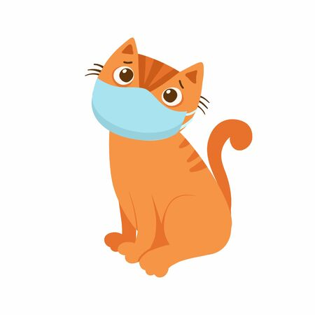 Sad cat with a respiratory mask on his face. The concept of protection against respiratory diseases, allergies. Coronavirus protection. Vector illustration on a white background.