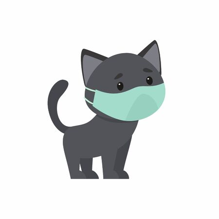 Black kitten with a protective mask on his face. The concept of protection against respiratory diseases, allergies. Vector illustration on a white background.