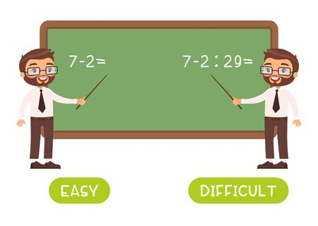 Educational word card with math sums vector template. Flash card for English studying. Antonyms concept, easy and difficult. Mathematics teacher near chalkboard flat illustration with typography Vector Illustration