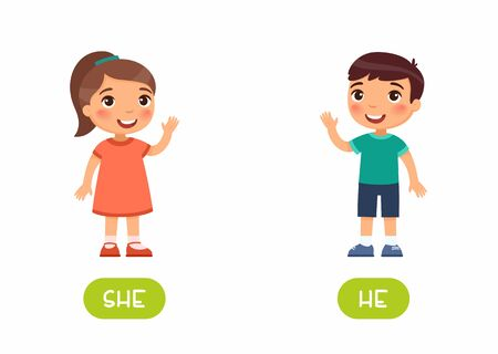 She and he antonyms flashcard vector template. Word card for english language learning with flat characters. Opposites concept. Girl and boy waving hand illustration with typography