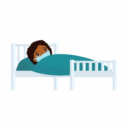 Sick girl with medical mask in hospital bed flat vector illustration. Child with virus disease  cartoon character.  Kid with cold. Patient relaxing under blanket isolated on white background