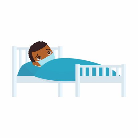 Sick little boy with medical mask in hospital bed flat vector illustration. Child with viral disease  cartoon character.  Kid with cold. Patient relaxing under blanket isolated on white background