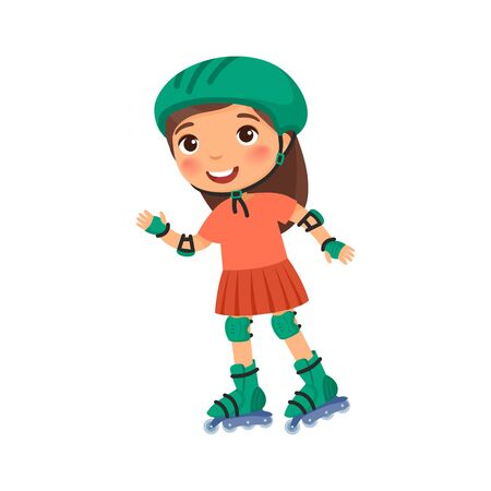 Little sportsman with roller skating flat vector illustration. Cute little girl self balancing  rollerskate cartoon character isolated on white. Recreation and leisure concept Illustration