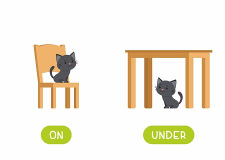 On and under prepositions antonyms word card flat vector template. Flashcard for english language learning. Opposites concept. Cat sitting on chair and under table cartoon illustration with typography Ilustración de vector