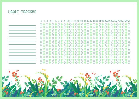 Habit tracker for month flat vector template. Spring wild flowers themed blank, personal organizer with decorative frame. Summer season floral border with stylized lettering Ilustración de vector