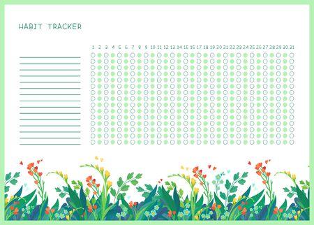 Suivi des habitudes pour le modèle vectoriel plat du mois. Vide sur le thème des fleurs sauvages du printemps, organisateur personnel avec cadre décoratif. Bordure florale de saison estivale avec lettrage stylisé Vecteurs
