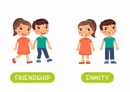 Friendship and enmity antonyms flashcard vector template. Word card for english language learning with flat characters. Opposites concept. Girl and boy quarrel illustration with typography Stock Photo
