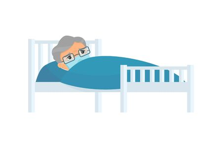 Sick old man with medical mask in hospital bed flat vector illustration. Grandfather with virus disease cartoon character. Patient relaxing under blanket isolated on white background