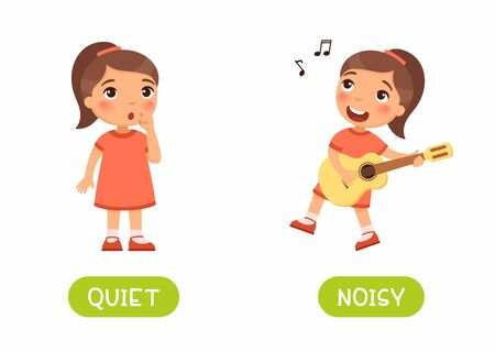 The little girl splaying guitar and the girl is silent. Illustration of opposites noisy and quiet. Card for teaching aid, for a foreign language learning. Vector illustration on white background, cartoon style.
