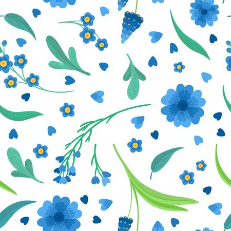Blue flowers blossoms flat vector retro seamless pattern.  Abstract wildflowers on white background. Daisy and cornflower decorative background. Blooming meadow wildflowers. Vintage textile, fabric, wallpaper design