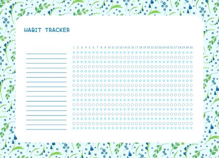 Habit tracker for month flat vector template. Spring blue wild flowers themed blank, personal organizer with decorative frame. Summer season floral border with stylized lettering