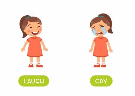 Cry and laugh antonyms flashcard vector template. Word card for english language learning with flat characters. Opposites concept. Girl sad and girl happy illustration with typography Vector Illustration