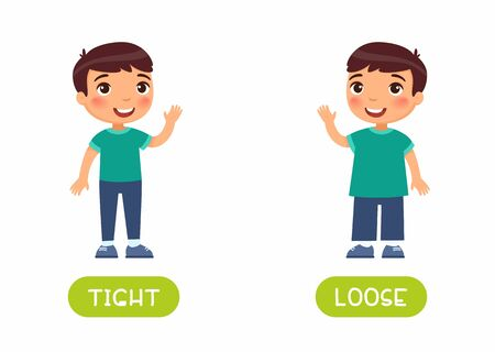 Tight and loose antonyms flashcard vector template. Word card for english language learning with flat characters. Opposites concept. Boy in skinny jeans illustration with typography Ilustración de vector
