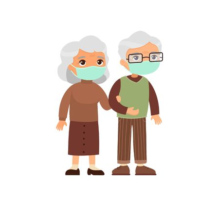Old  caucasian couple in medical masks. Senior couple walking together. Elderly woman holds arm of elderly man. Respiratory viral infections or allergies concept. Vector illustration