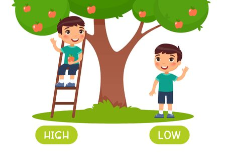 High and low antonyms word card vector template. Flashcard for english language learning. Opposites concept. Boy standing on ladder, picking apple from tree illustration with typography
