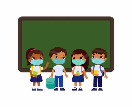 Indian pupils with medical masks on their faces. Boys and girls dressed in school uniform standing near blackboard cartoon characters. Virus protection, allergies concept. Vector illustration on white background.