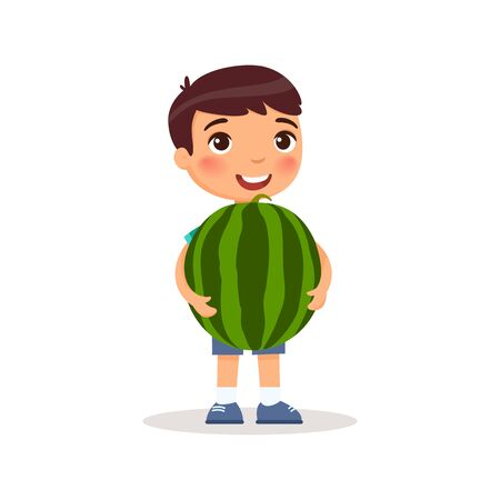 Cute boy holding watermelon flat vector illustration. Little caucasian child and big water melon. Happy preteen kid standing with huge summer fruit cartoon character isolated on white background Illustration