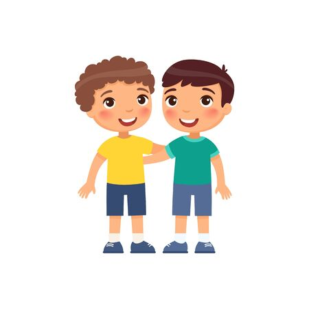 Two little boys hugging cartoon characters. Smiling kids isolated on white background.
