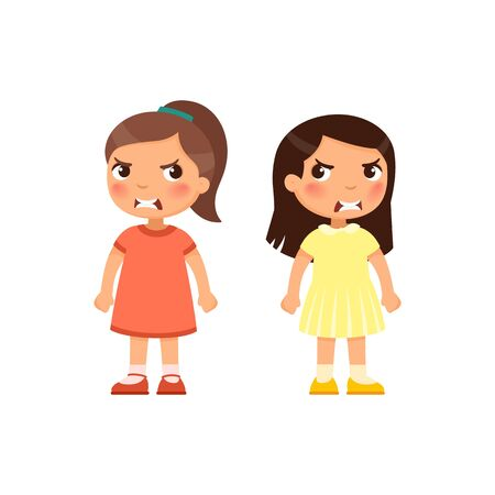 Angry little girls flat vector illustration. Furious children quarrel, aggressive kids arguing cartoon characters. Kids with mad face expression isolated on white background
