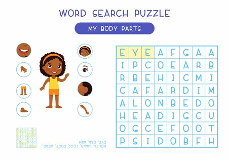 My body parts word search puzzle flat vector design. Anatomy learning game for kids template, cartoon worksheet idea. Childish printable crossword with human external organs names layout Illustration
