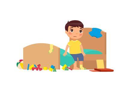Enfant bouleversé dans l'illustration vectorielle plane de la chambre en désordre. Petit garçon dans le personnage de dessin animé d'appartement sale. Enfant malheureux dans une pièce négligée isolée sur fond blanc. Tâches ménagères, nettoyage