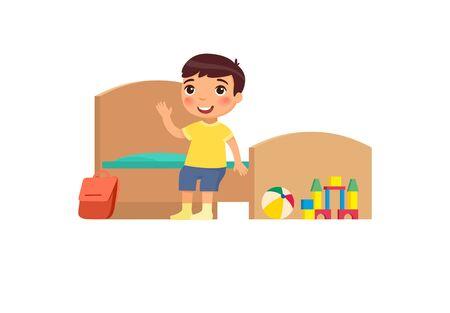 Petit garçon en illustration vectorielle plane chambre propre. Enfant mignon assis sur le lit dans le personnage de dessin animé de la chambre bien rangée. Enfant soigné dans un intérieur organisé isolé sur blanc. Nettoyage et hygiène de la maison