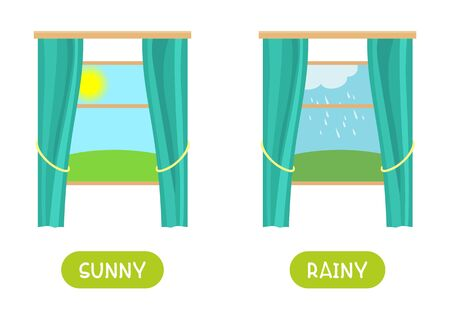 Antonyms concept, SUNNY and RAINY. Educational flash card template with different weather outside the window. Word card for english language learning with opposites. Flat vector illustration with typography