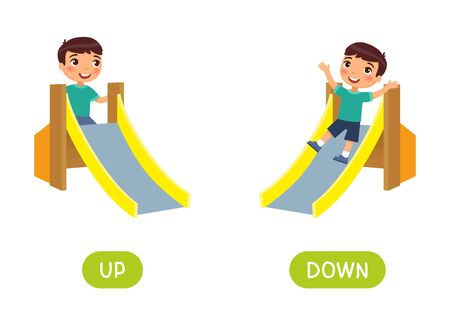 Opposites concept, UP and DOWN. Word card for language learning. Little boy climbs up a children's slide, rides down. Flashcard with antonyms for children vector template. Flat illustration with typography.