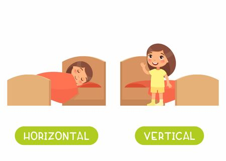 Opposites concept, HORIZONTAL and VERTICAL. Word card for language learning. Little girl is lying in bed, child is standing. Flashcard with antonyms for children vector template. Flat illustration with typography.