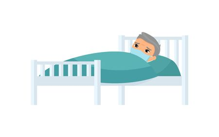 Sick old asian man with medical mask in hospital bed flat vector illustration. Grandfather with virus disease cartoon character.  Patient relaxing under blanket isolated on white background