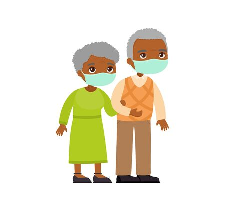 Old african couple in medical masks. Senior couple walking together. Elderly woman holds arm of elderly man. Respiratory viral infections or allergies concept. Vector illustration