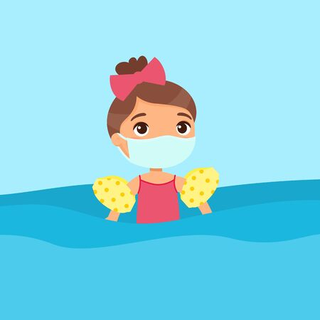 Child having fun in water with a medical mask. Virus protection, allergies consept. Girl swimming with inflatable sleeves flat vector illustration. Beautiful child having fun in water. Cheerful kid in swimsuit enjoying summer activities color cartoon character Illustration