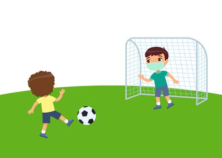 Two little boys with medical masks playing soccer. Virus protection, allergies concept. Children on the football field. Flat vector illustration, cartoon character. Sport and recreation