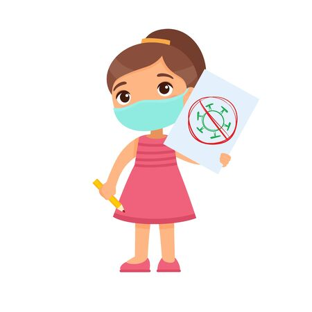 Little girl with medical mask holding paper sheet with virus image. Cute schoolkid with image and pencil in hands isolated on white background. Virus protection consept.  Illustration