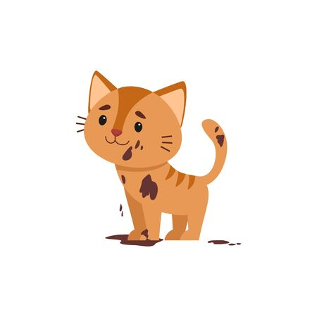 Dirty cat flat vector color illustration. Unhappy kitten in mud. Bad child behavior. Untidy; grubby little cat cartoon character isolated on white background Vetores